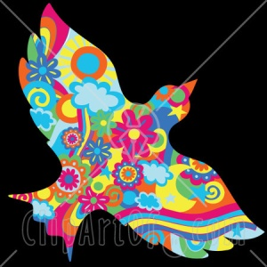 22243-Clipart-Illustration-Of-A-Colorful-Floral-Psychedelic-Dove-Of-Peace-With-Sunshine-Flowers-Clouds-And-Swirls-Flying-Over-A-Black-Background